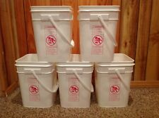 5 plastic 4-1/4 gall square food grade Ropak HDPE2 buckets with snap on lids