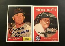 1959 & 1961 MICKEY MANTLE #10 #300 Lot w Blue Signature Auto New York Yankees Rp