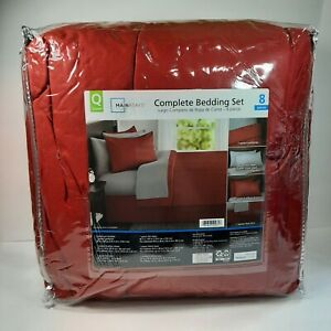 8 Piece QUEEN SIZE Bed In A Bag Bedding Set Red and Gray Sheet Home Room