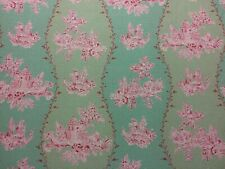 """ANNA FRENCH """"Happy Valley"""" CURTAIN FABRIC LINEN/COTTON CUSHION BLIND GREEN PINK"""
