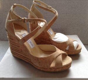 Jimmy Choo Alana Beige Cork Wedge Espadrilles Size 40 Retail $575 New In Box