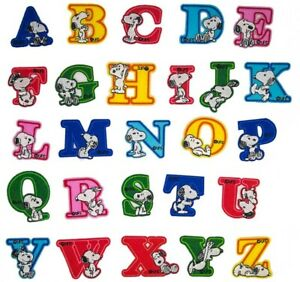 Snoopy Cartoon Dog Letter Patch Iron or Sew on Alphabet Embroidery Customise