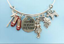 Wizard of Oz Bangle Bracelet Dorothy Ruby Slippers Silver Charm Bracelet Jewelry