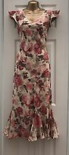 PRETTY PINK BEIGE LONG BIAS CUT SUMMER OCCASION DRESS FROM AUTONOMY SIZE 12