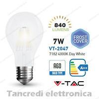 Lampadina led V-TAC 7W E27 bianco naturale 4000K VT-2047 A60 bianca filamento