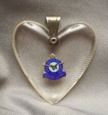 Old WW2 Royal Canadian Air Force Sweetheart Pendant - Lucite Heart with Enamel