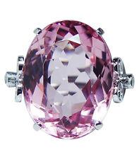 Vintage 20ct Flawless Pink Tourmaline Diamonds Ring Platinum Estate Jewelry