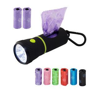 Waste Bag Dispenser With LED Flashlight 135 (9 Rolls) Large Strong Dog Poo Bags