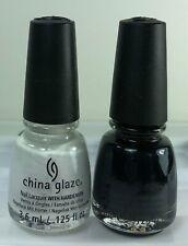 2 China Glaze MINI Nail Polish WHITE ON WHITE & LIQUID LEATHER 3.6ml