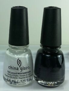 China Glaze MINI Nail Polish WHITE ON WHITE & LIQUID LEATHER 3.6ml