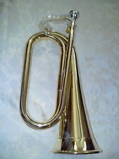 New British Army Style Bb Bugle Tune able Brass with Silver Plated Mouthpiece