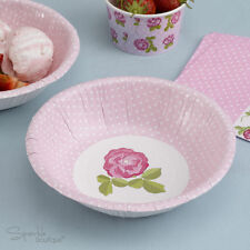 VINTAGE ROSE PAPER BOWLS -Shabby Chic-Afternoon Tea/Hen Party/Pink-RANGE IN SHOP