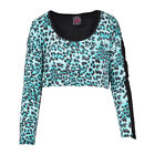 TOO FAST JUNGLE FEVER LONG SLEEVES CROP TOP TURQUOISE