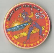 SUNSET STATION HENDERSON  $5 HAPPY NEW YEAR 2000  CASINO  CHIP