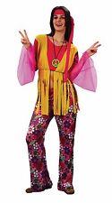 Ladies 70's Hippy Psychedelic Flower Power Hippie Woman Fancy Dress Size 10-14