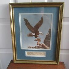 Framed and matted print of Eagle landing on mountain side, Psalms 103:5