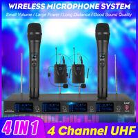 4 Channels LCD Pro Wireless Microphone System UHF Handheld Mics Headsets Karaoke