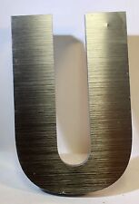 "6"" Acrylic Steel finish Look Industrial LETTER ""U"" .5"" thick 3D Sign"