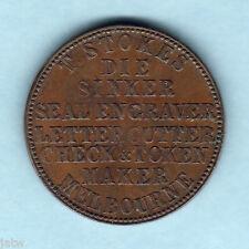 Australia Token. Stokes  - 1862 1d.. Melbourne Vic..  Emu & 8 line Insc.. gVF