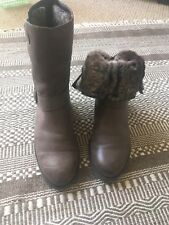Clarks Brown Fur Lined Boots 6.5