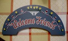 New listing Wooden Welcome Friends Sign with Tulips and Hearts. Very good condition & clean.