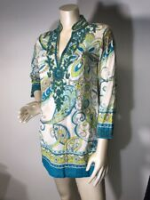 Barbara Gerwit Beaded paisley green Cotton dress coverup size S Bin-M