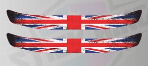 Union Jack Flag Grunge Style Helmet Visor Sunstrip Screen Sticker Decals - 300mm