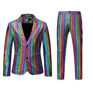 Mens Glitter Shiny Blazer Pants Suits 2Pcs Rainbow Check Clubwear Lapel Stage UK
