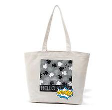 Fashion Cartoon Hello Kitty Grey Canvas Large Tote Shopper Shoulder Bag