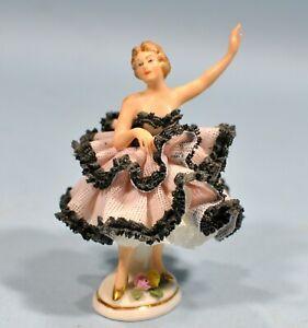 Original Vintage DRESDEN Germany Miniature Lace Ballerina Porcelain Figurine