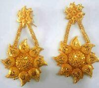 22K Gold Plated Long Designer Jhumka Earrings Indian Wedding Party Bridal 4'' .
