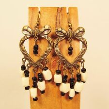"2 1/2"" White Wood Bead Metal Heart Shaped Handmade Chandelier Seed Bead Earring"