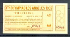 USA 1932 SUMMER OLYMPICS ---FULL TICKET= WRESTLING = UNFOLDED TOP CONDITION