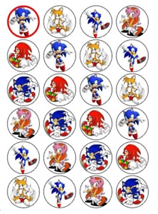 24 x Large Sonic the Hedgehog Edible Cupcake Toppers Birthday Cake Decoration