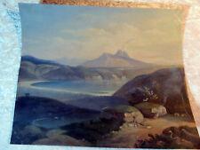 Schönes Landschaftsgemälde Blick auf den Vesuv unleserlich signiert um 1900