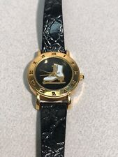 Figure Skater Watch Leather Strap 18k Gold Plate Water Resist New Battery! NICE!