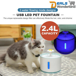 LED USB Automatic Elec Pet Water Fountain Cat/Dog Drinking Dispenser 2.4L/Filter