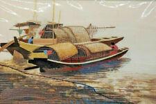 Oriental Silk Thread Embroidered Scenic Picture - Boat Copper & Gold
