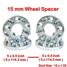 New 4x pcs 15 mm 5 Studs 12 x 1.25 PCD 5 x 114.3 to 5 x 114.3 mm Wheel Spacers