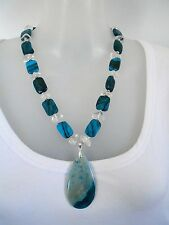 SALE Gift Idea Chrysocolla+ Clear Quartz Necklace + Pendant $35 NOW $30