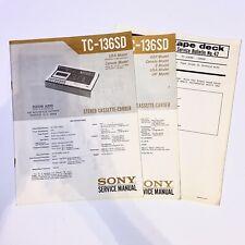 Sony Tc-136/136Sd Service Manuals & Bulletin: Stereo Cassette-Corder/Recorder