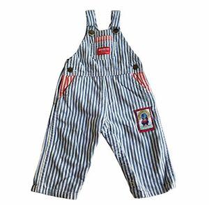 Vintage Oshkosh B'Gosh Red and Blue Striped Overalls 24 Mos