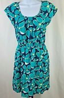Womens Old Navy Size Small Teal Blue and Yellow Floral Dress Short Sleeve