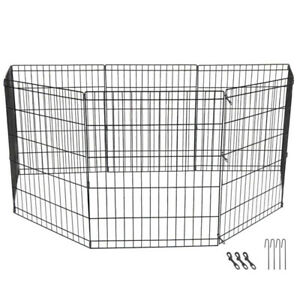 "30"" Pet Dog Playpen Quality Excercise Fence Cage Kennel 8 Panel Indoor & Outdoor"