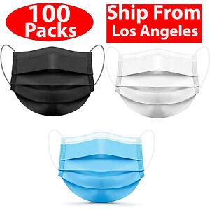 100/ 50 PCS Black Face Mask Mouth & Nose Protector Respirator Masks USA Seller