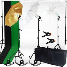 Photo Studio Photography Kit 3 Light Bulb Umbrella Muslin 3 Backdrop Stand Set