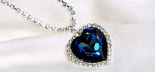 TITANIC Necklace Blue Heart & Crystal Large Pendant Ocean Slight Defects NEW