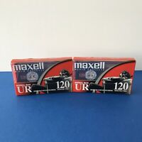 Maxell UR 120 IEC Type I Blank Audio Cassette Tapes LOT of 2 Sealed 120 min New