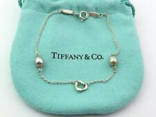 Authentic TIFFANY & CO Sterling Silver Pearls by the Yard Open Heart Bracelet