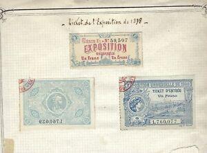France , Exposition Universelle de 1900 Bon Un Franc  3 Ticket Entree